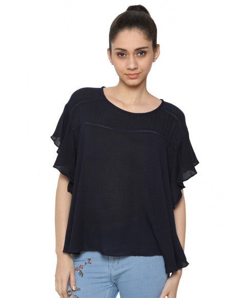 Navy Blue Boxy Top-1