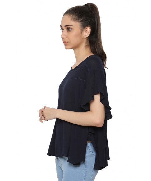 Navy Blue Boxy Top-2