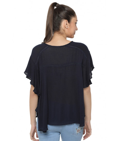 Navy Blue Boxy Top-3