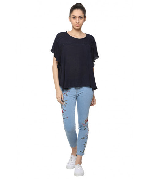 Navy Blue Boxy Top-4