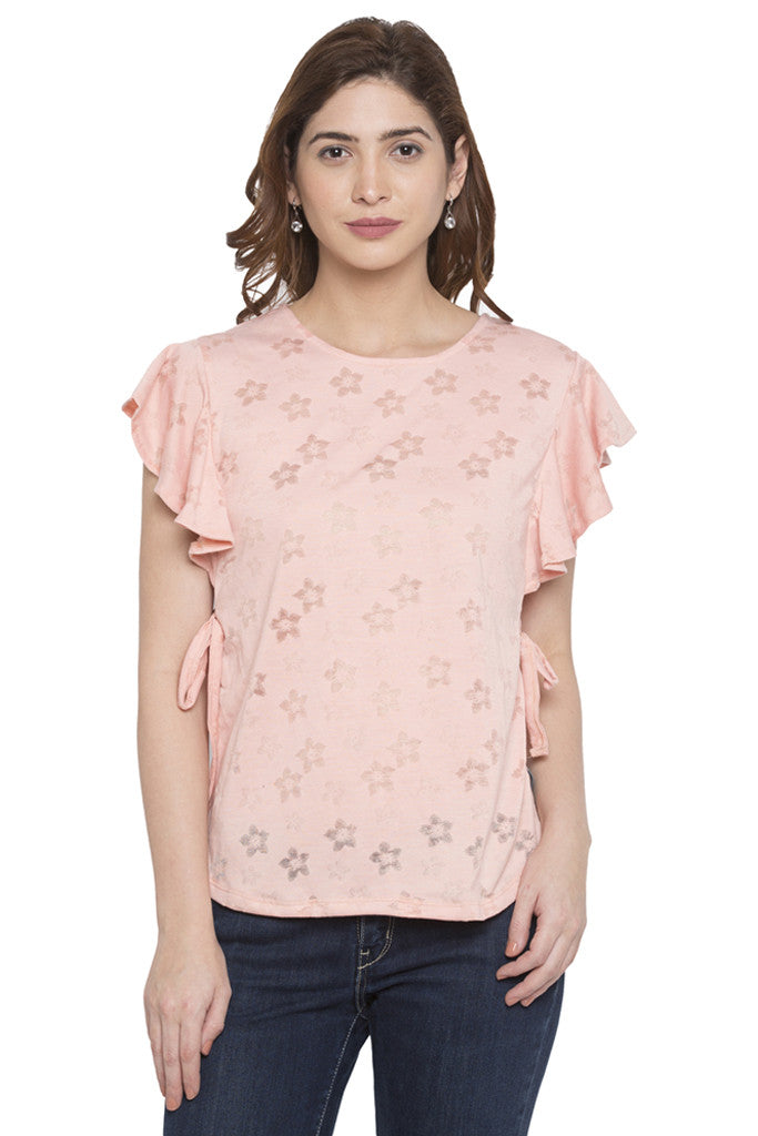 Frill Tie Up Brasso Print Top-1