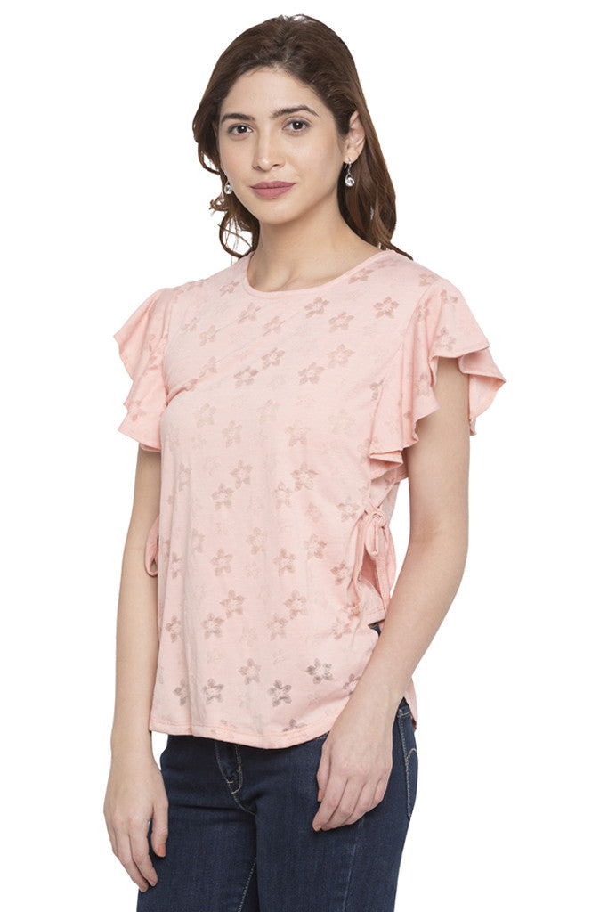 Frill Tie Up Brasso Print Top-4