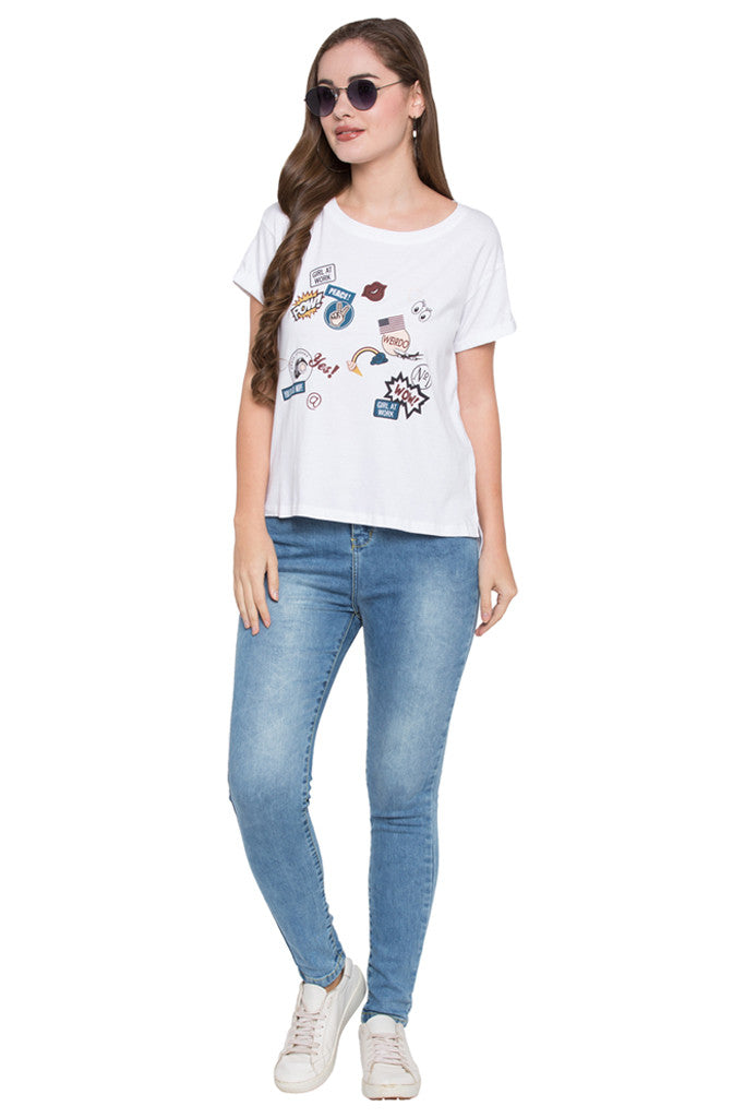 High Low Boxy Fit Printed Tee-2