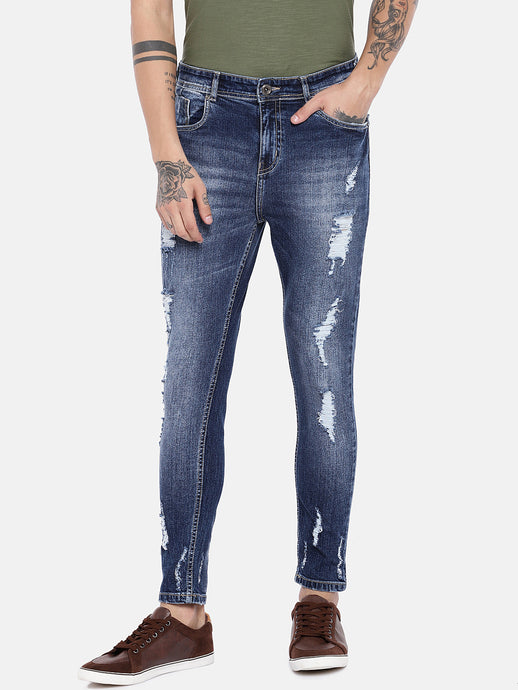 Blue Regular Fit Mid-Rise Highly Distressed Jeans-1