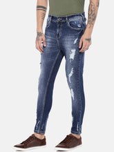 Load image into Gallery viewer, Blue Regular Fit Mid-Rise Highly Distressed Jeans-2