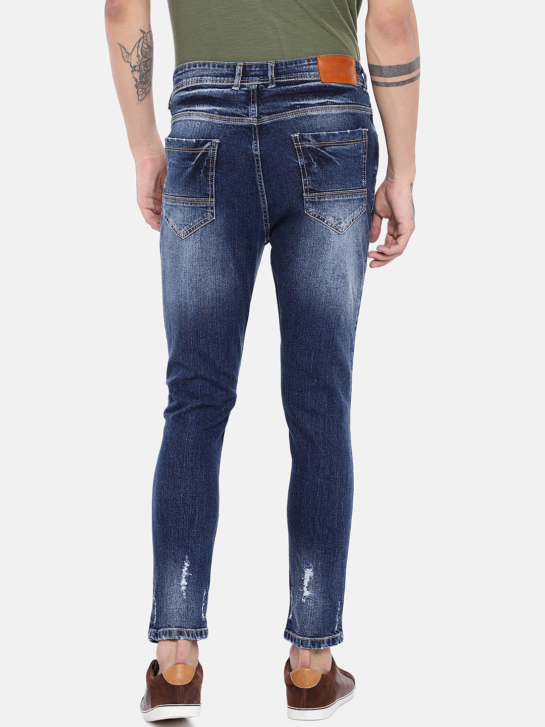Blue Regular Fit Mid-Rise Highly Distressed Jeans-3