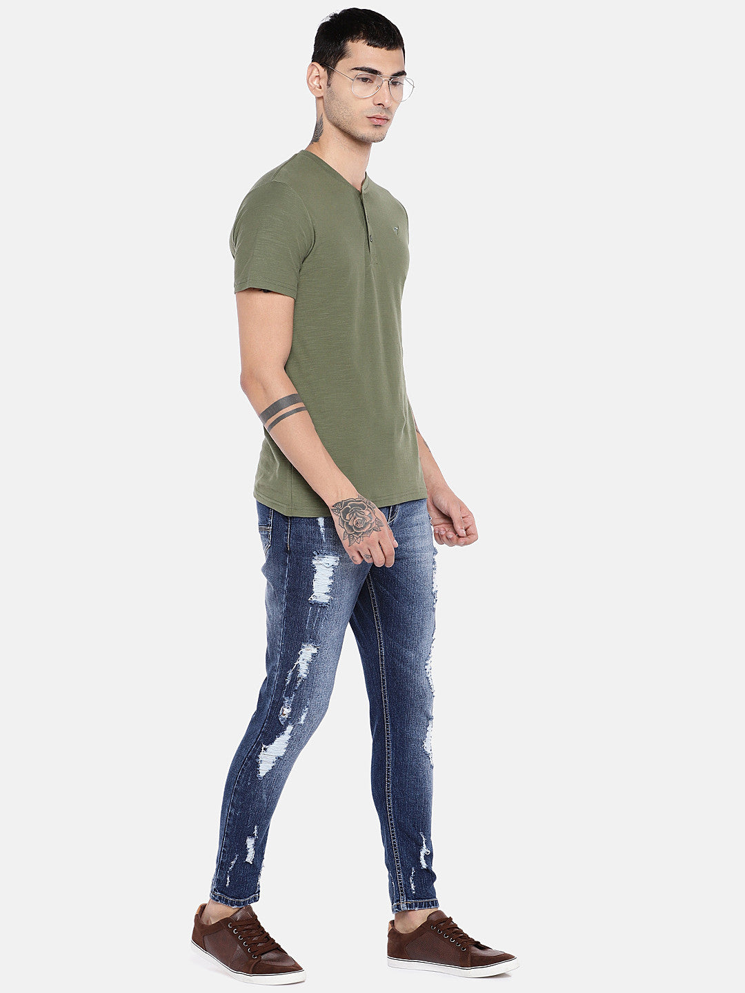 Blue Regular Fit Mid-Rise Highly Distressed Jeans-4