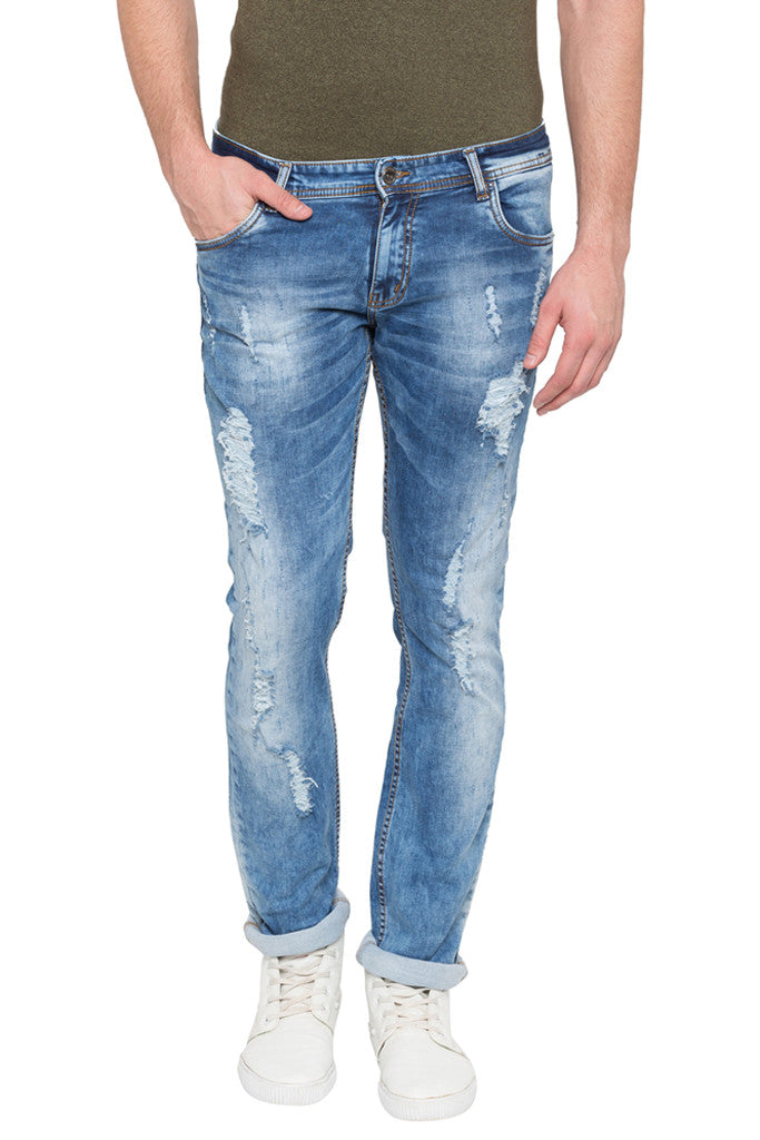 Skinny Fit Distressed Denims-1