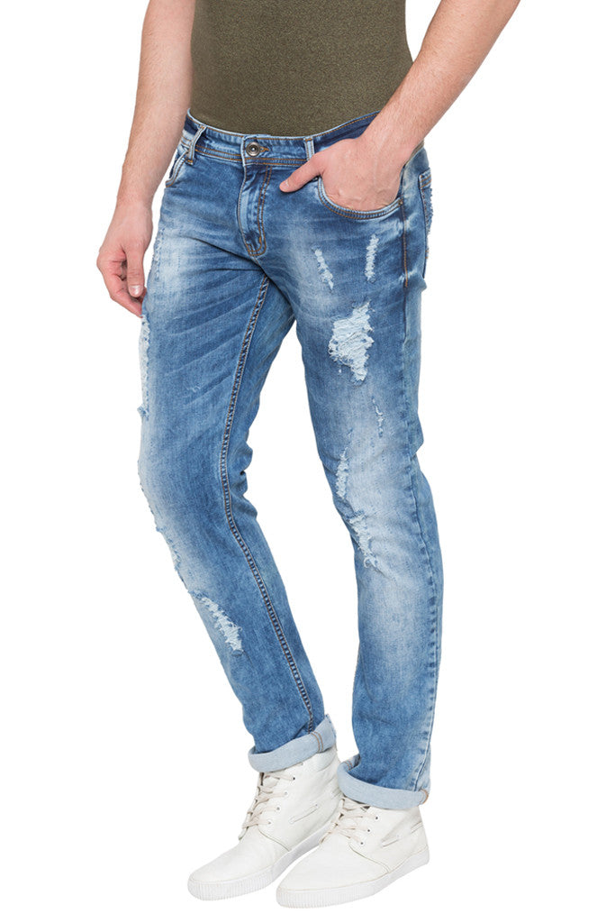 Skinny Fit Distressed Denims-4