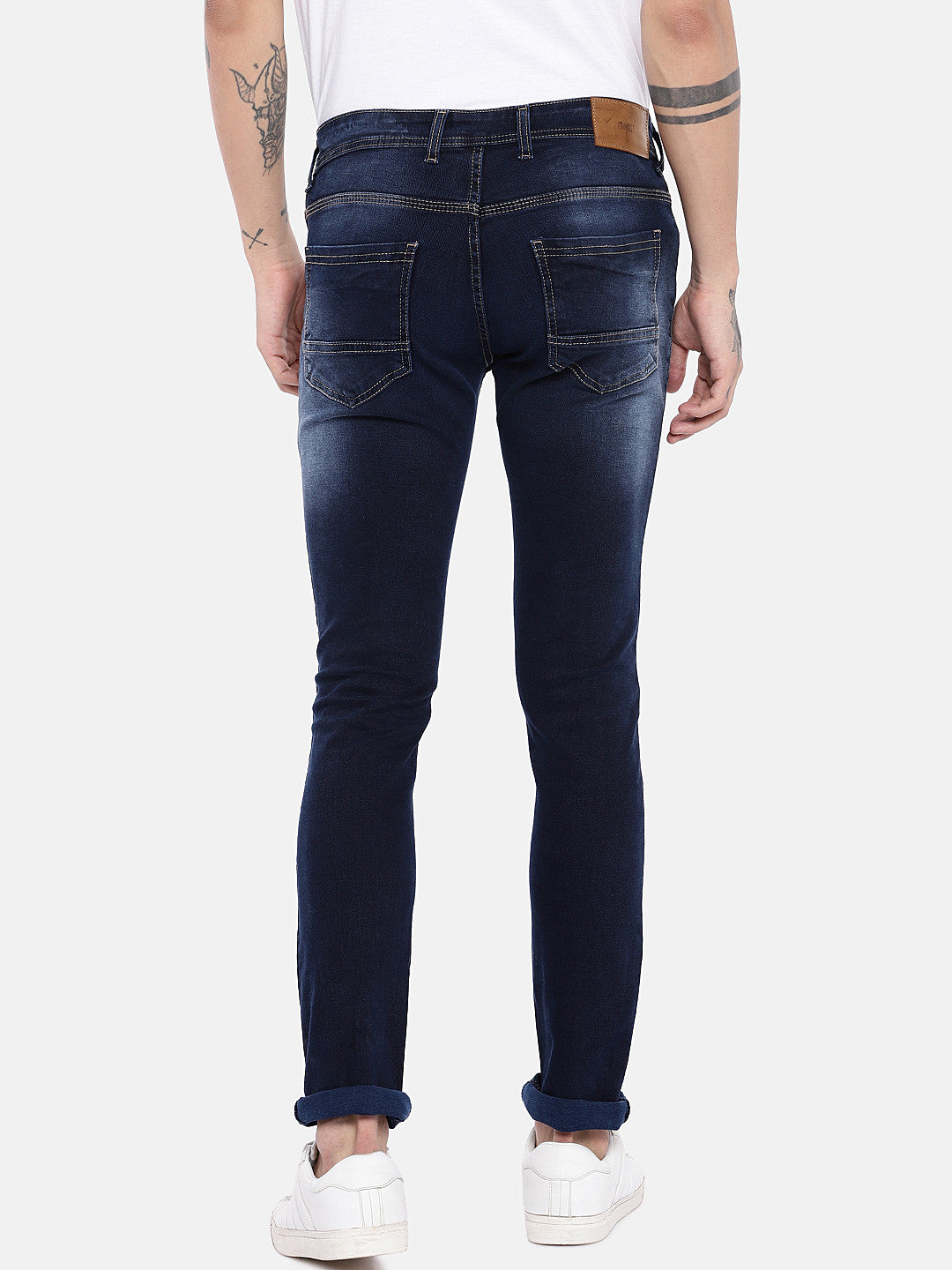 Blue Regular Fit Mid-Rise Clean Look Jeans-3