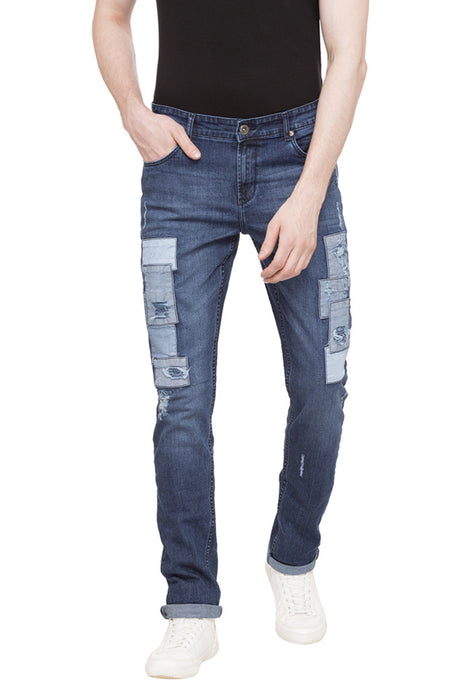 Patch Work Slim Fit Denims-1