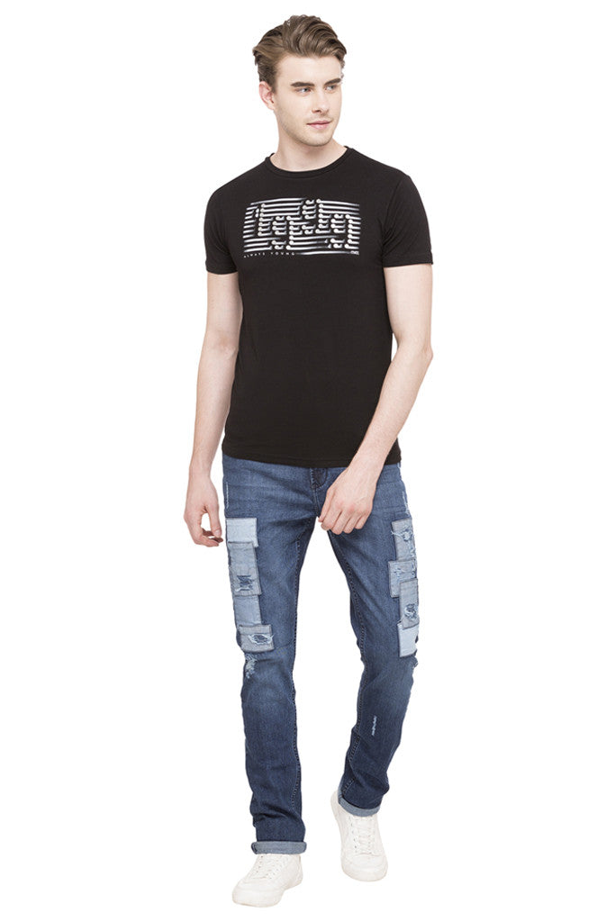 Patch Work Slim Fit Denims-2