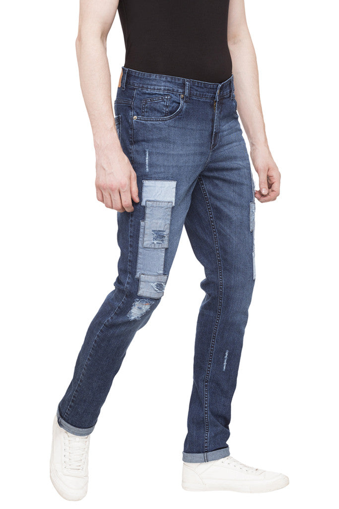 Patch Work Slim Fit Denims-4