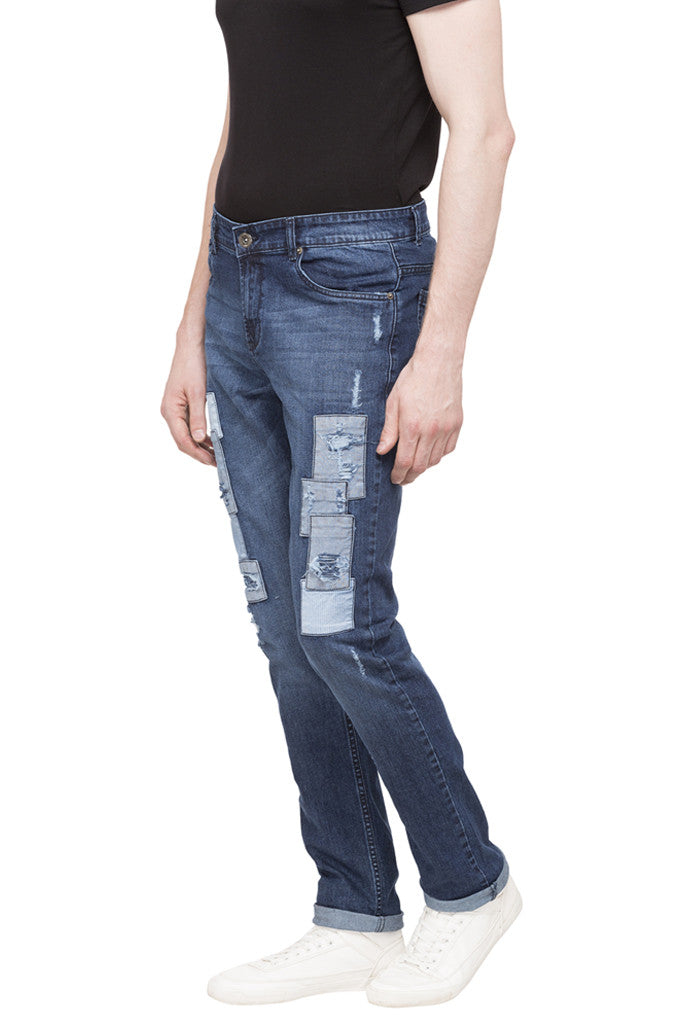 Patch Work Slim Fit Denims-5