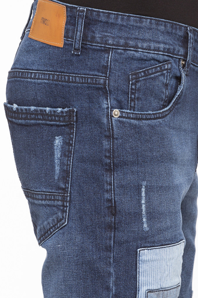 Patch Work Slim Fit Denims-6
