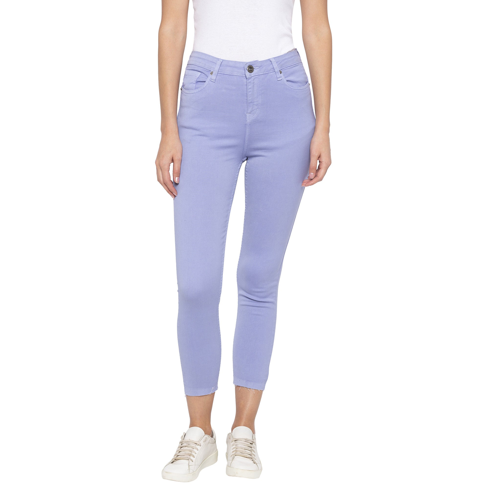 Casual Purple Color Skinny Fit Mid-Rise Cropped Jeans-1