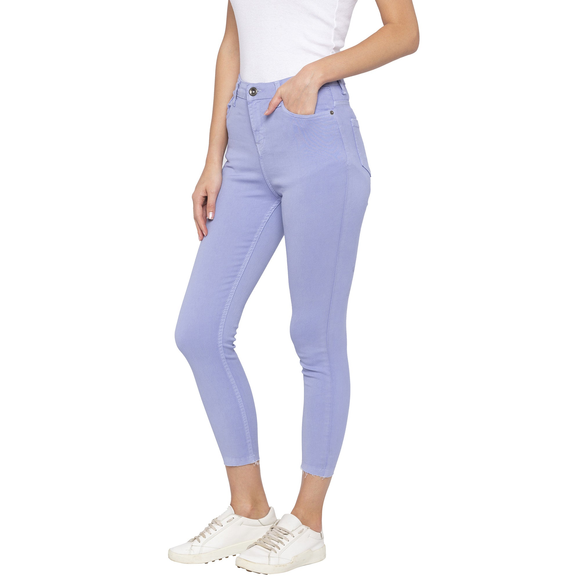 Casual Purple Color Skinny Fit Mid-Rise Cropped Jeans-2