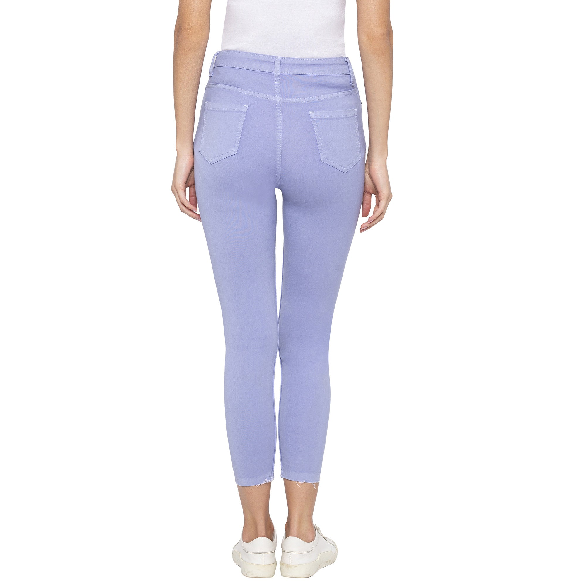 Casual Purple Color Skinny Fit Mid-Rise Cropped Jeans-3