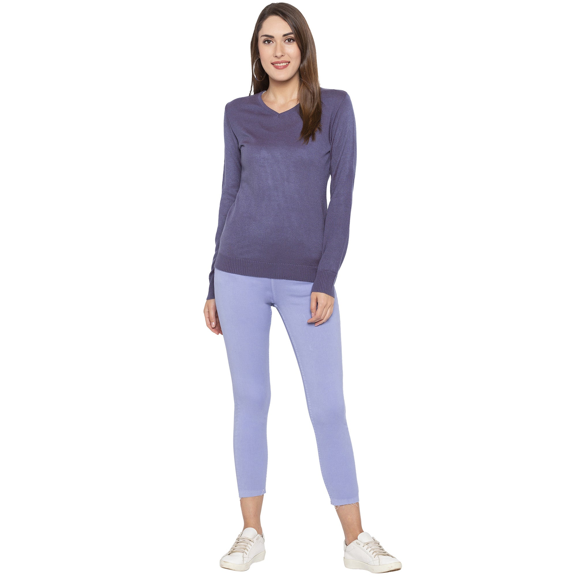 Casual Purple Color Skinny Fit Mid-Rise Cropped Jeans-4