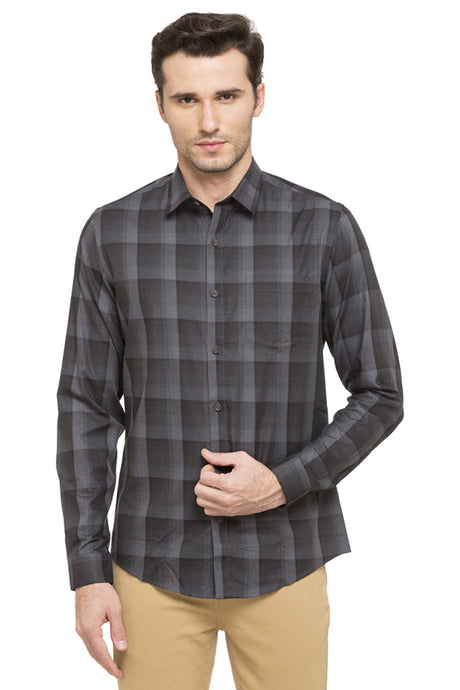 Slim Fit Checked Smart Casual Shirt-1