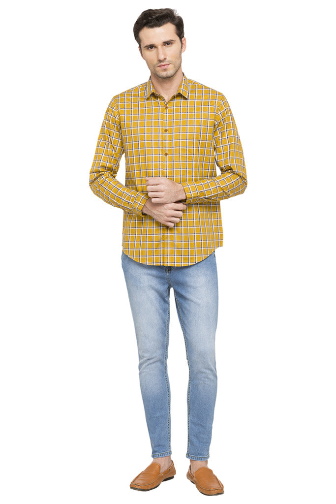 Slim Fit Checked Smart Casual Shirt-2