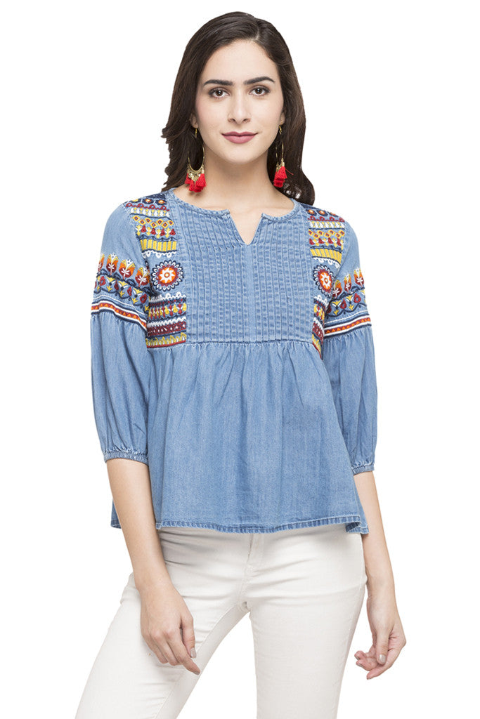 Embroidered Denim Top-1