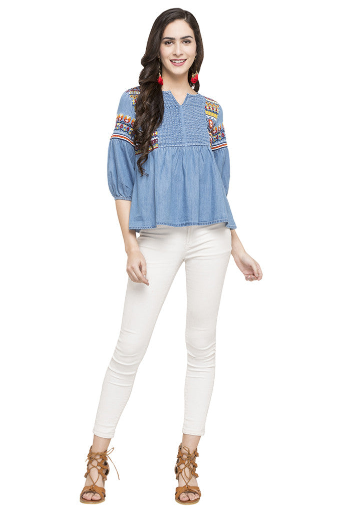 Embroidered Denim Top-2
