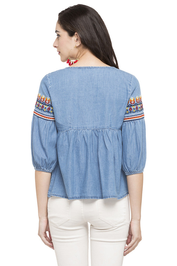 Embroidered Denim Top-3