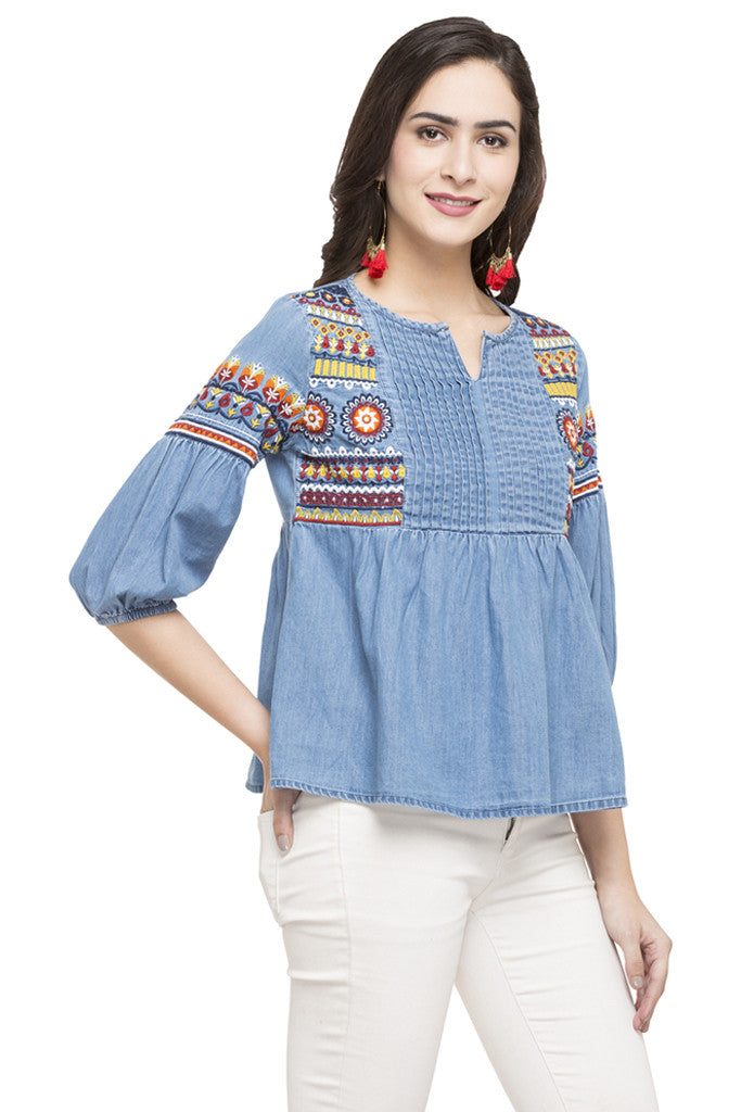 Embroidered Denim Top-4