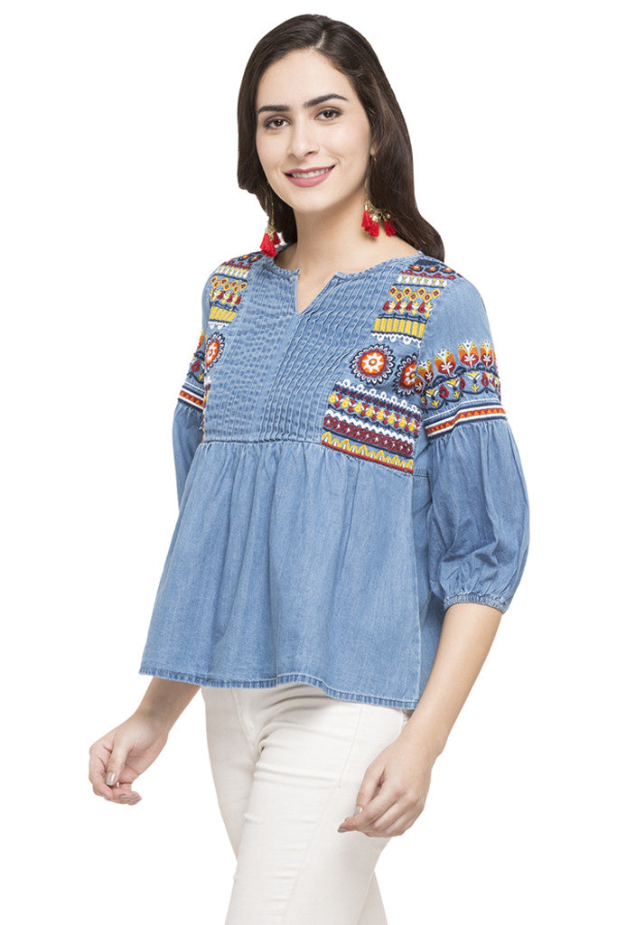 Embroidered Denim Top-5