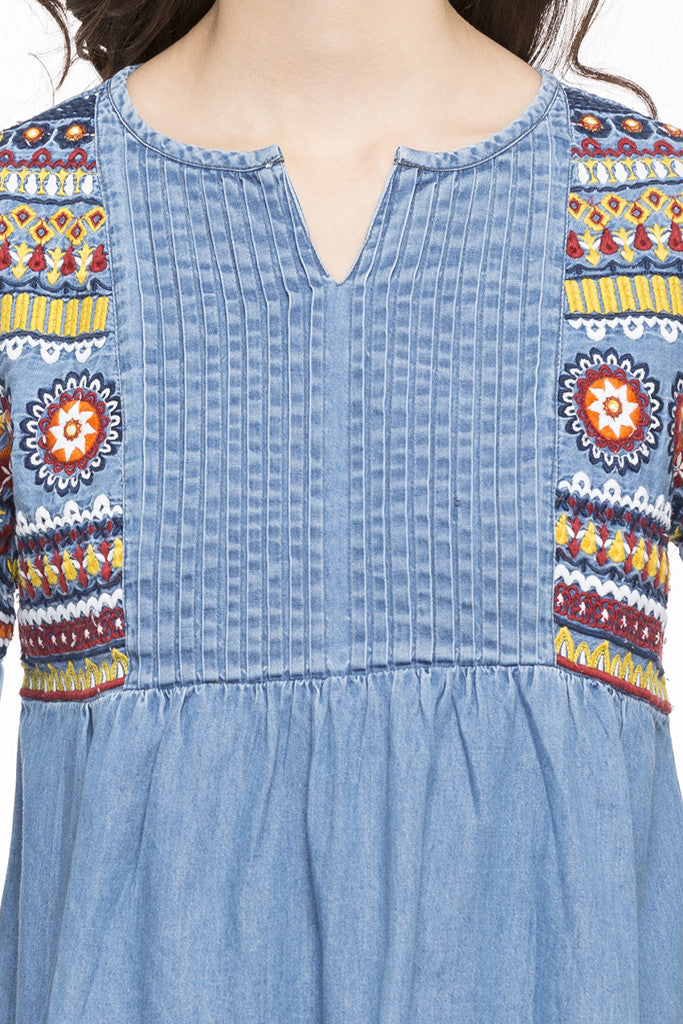 Embroidered Denim Top-6