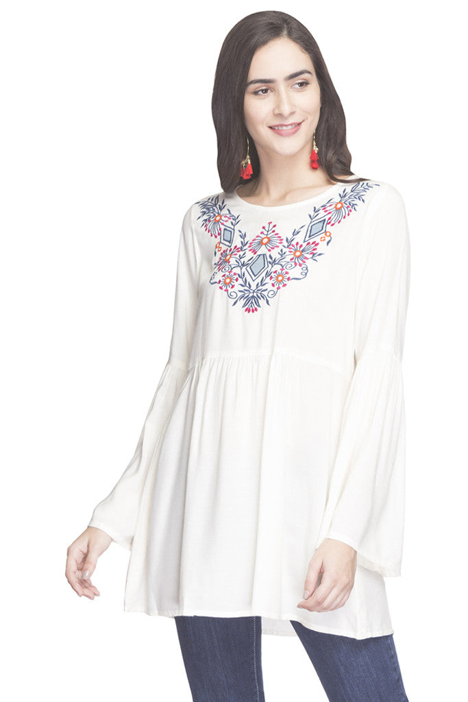 Embroidered Bell Sleeved Tunic-1