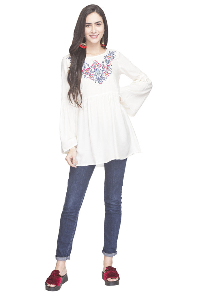 Embroidered Bell Sleeved Tunic-2