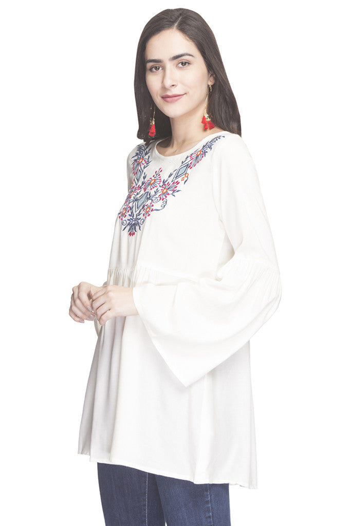 Embroidered Bell Sleeved Tunic-5