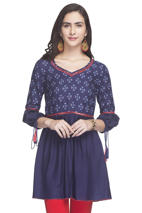 Tasseled Sleeve Printed Ethnic Tunic-1
