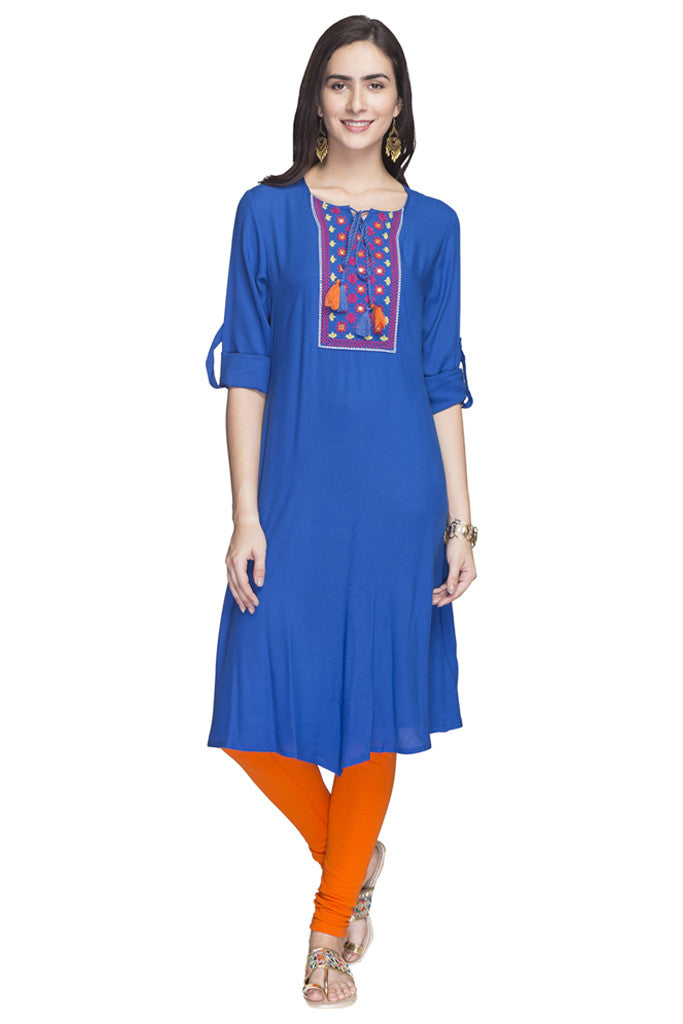 Embroidered Handkerchief Hemline Kurta-1