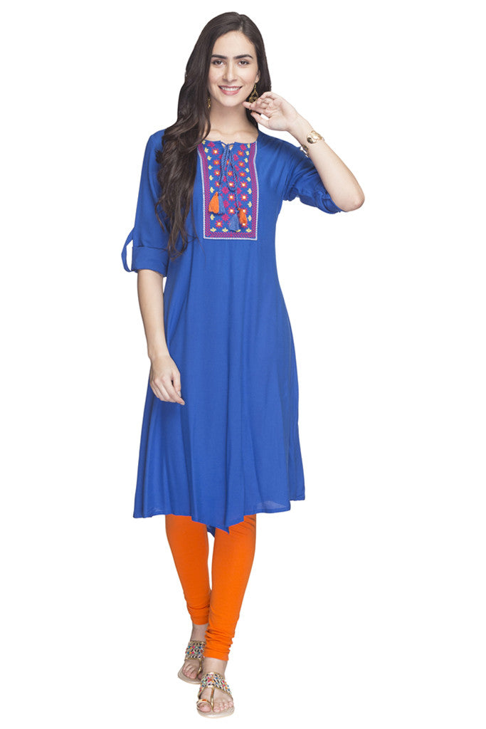 Embroidered Handkerchief Hemline Kurta-2