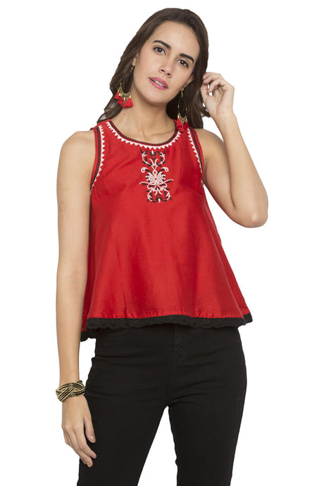 Embroidered Scallop Lace Hem Top-1