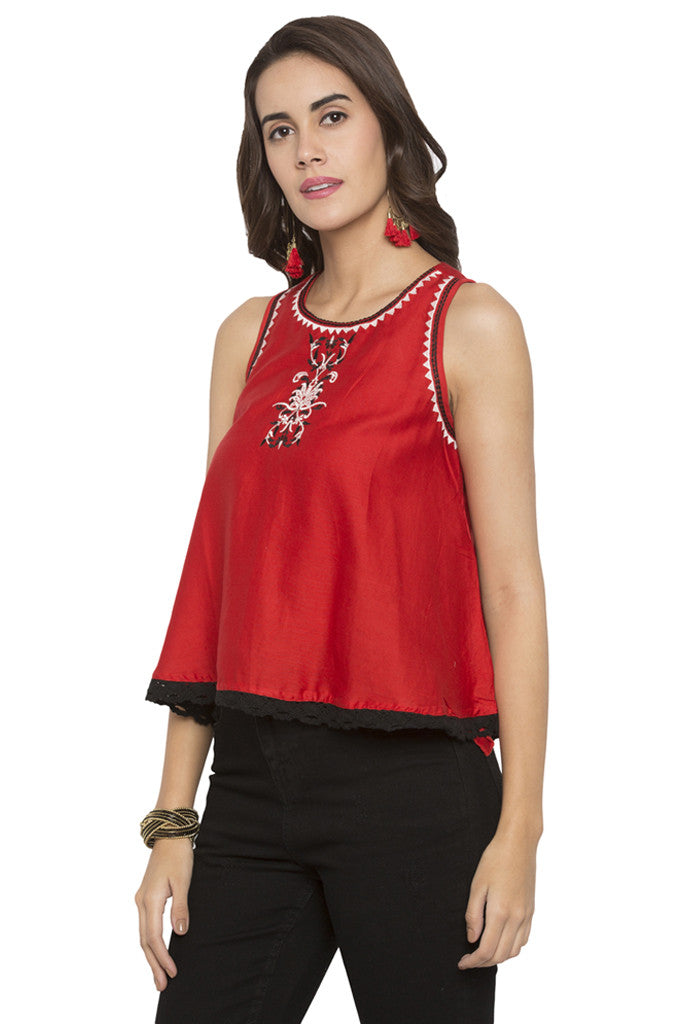 Embroidered Scallop Lace Hem Top-4