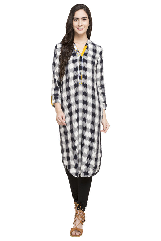 Curved Hemline Checked Kurta-2