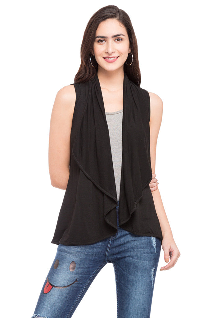Solid Sleeveless Shrug-1