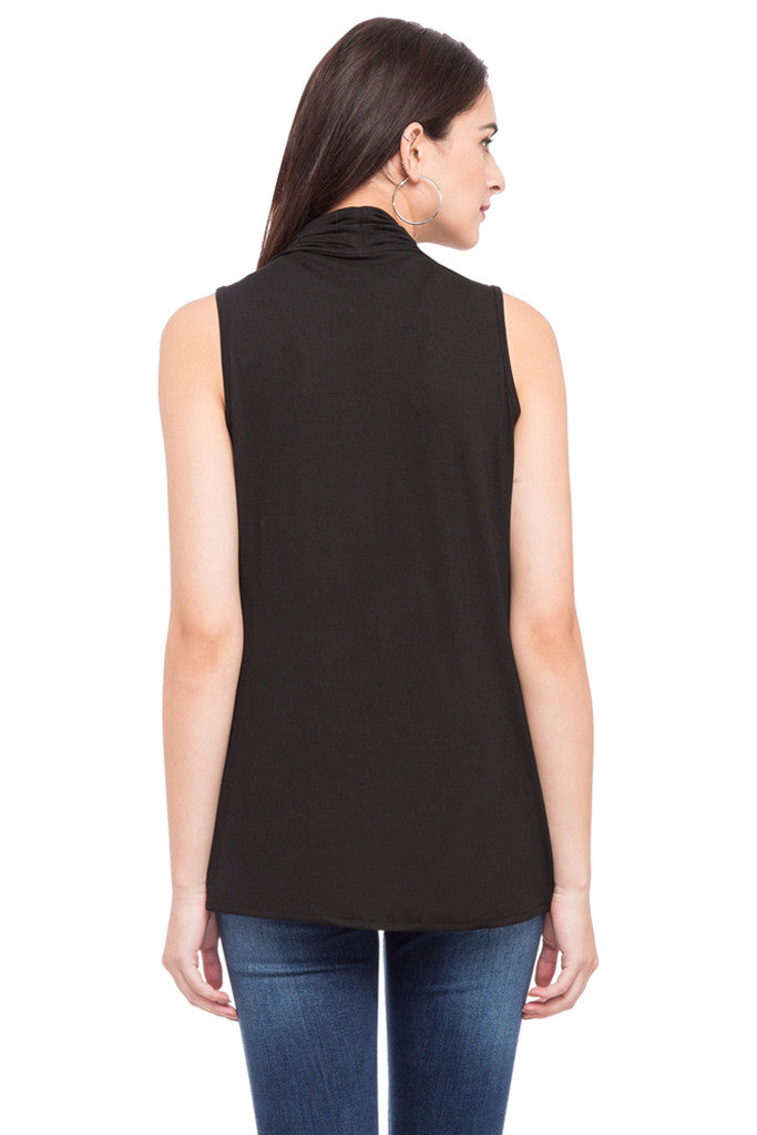 Solid Sleeveless Shrug-3