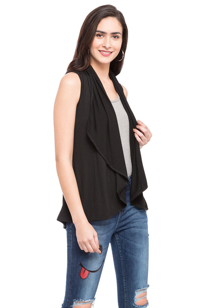 Solid Sleeveless Shrug-4