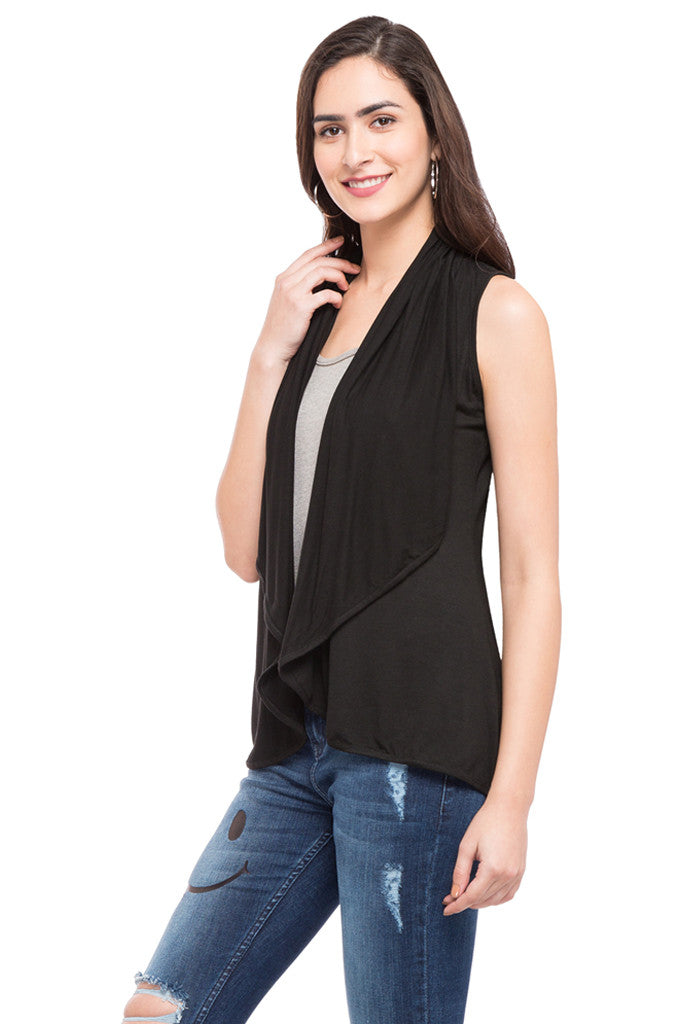 Solid Sleeveless Shrug-5