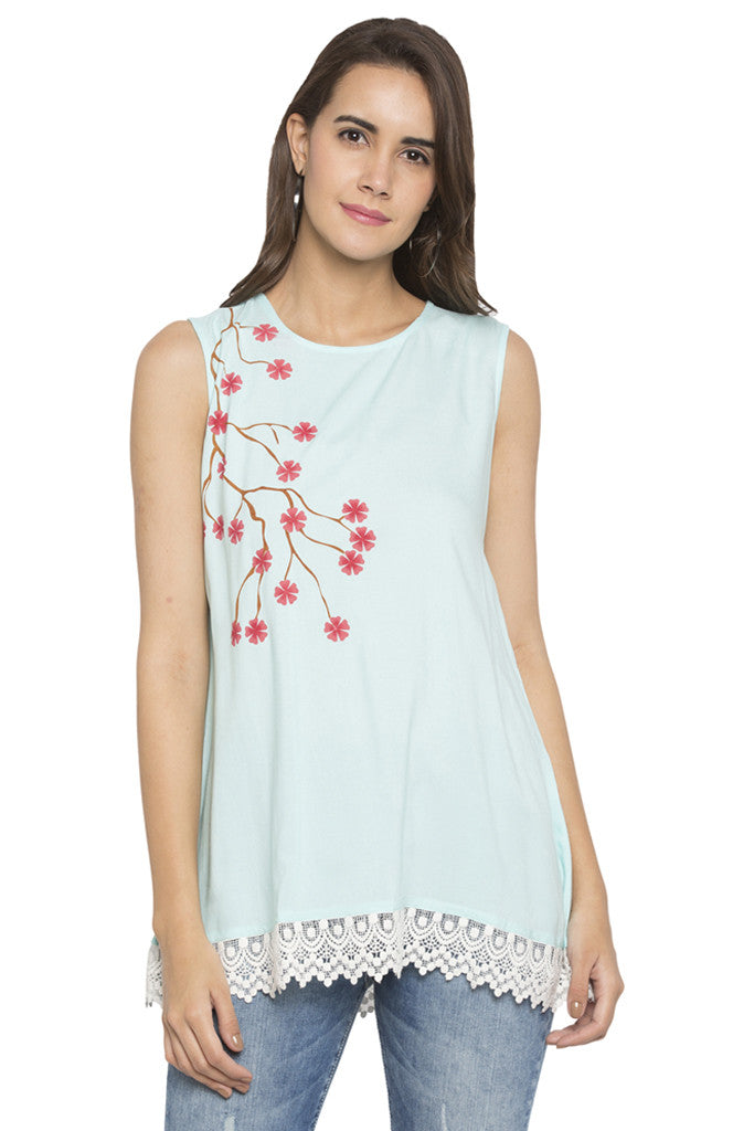 Floral Print Lace Hemline Tunic-1