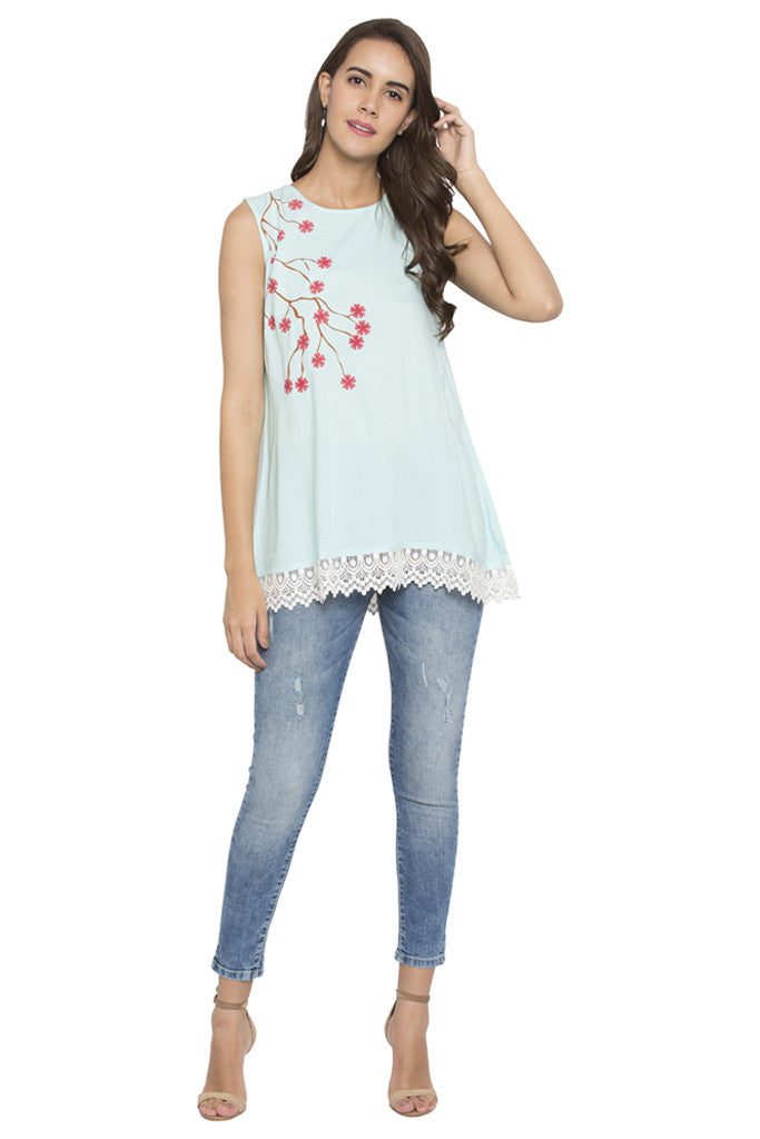 Floral Print Lace Hemline Tunic-2
