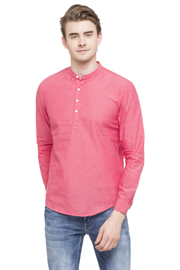 Mandarin Collar Solid Casual Shirt-1