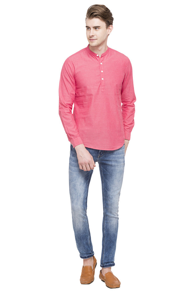 Mandarin Collar Solid Casual Shirt-2