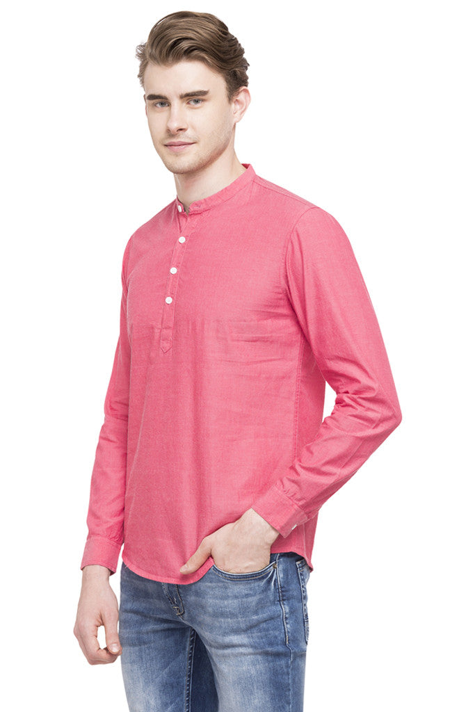 Mandarin Collar Solid Casual Shirt-5