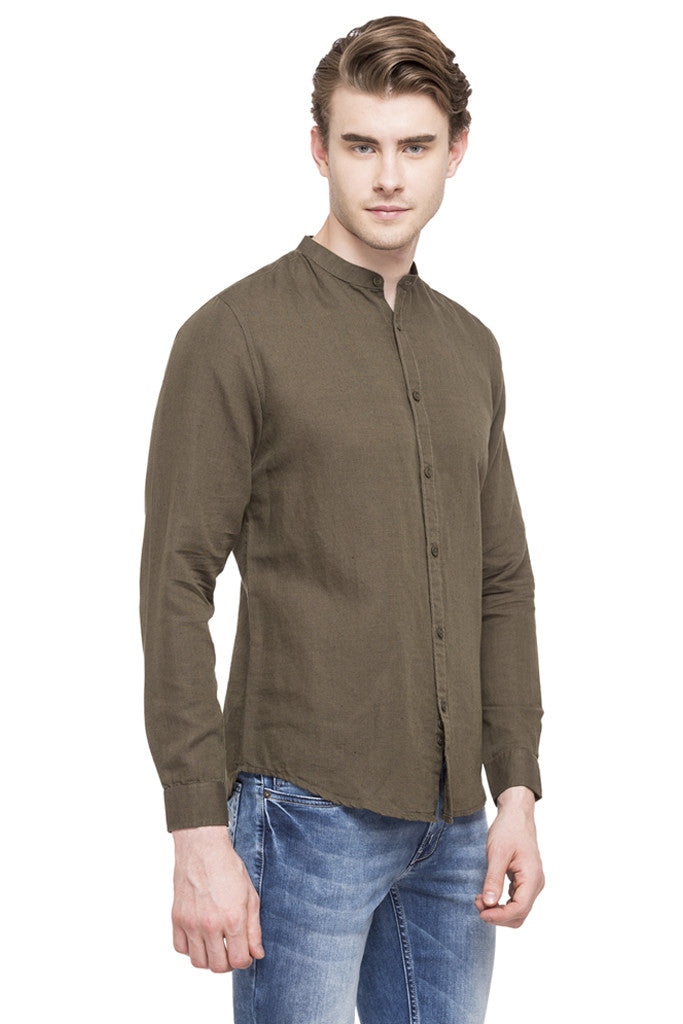 Mandarin Collar Casual Shirt-4